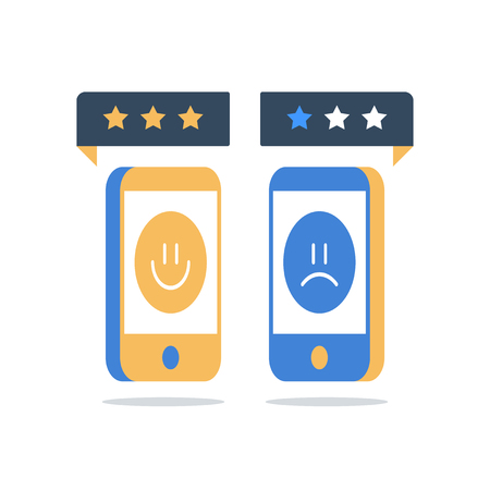 Online review, good or bad customer, smartphone and rating stars, service quality evaluation, sharing happy or unhappy experience, feedback survey, opinion poll, satisfaction assessment concept, icon