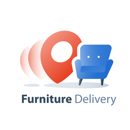 Furniture delivery service, move in home, fast relocation, armchair vector flat illustration