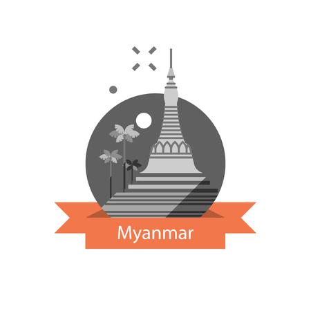Myanmar travel destination, Yangon symbol, Shwedagon pagoda, tourism concept, culture and architecture, famous landmark, vector icon, flat illustration