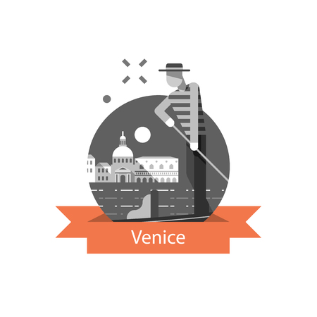 Italy, Venice symbol, travel destination, famous landmark, gondola and man in hat, vector icon, flat illustration Фото со стока - 118576534