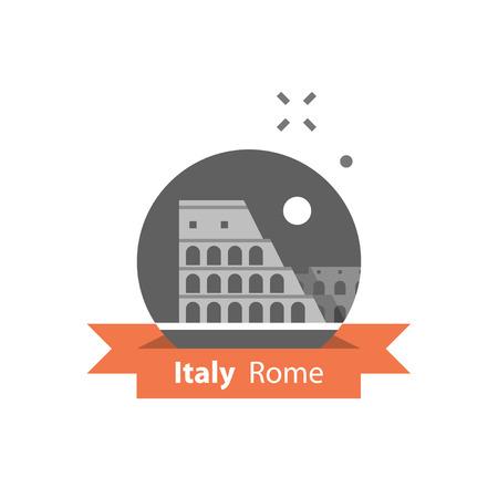 Italy, Rome symbol, travel destination, famous landmark, Colosseum view, tourism concept, vector icon, flat illustration Ilustração Vetorial
