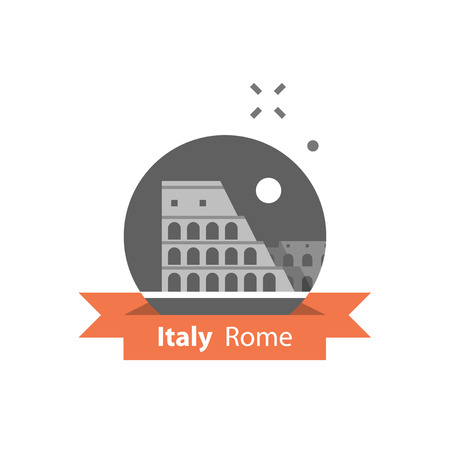 Symbol Italiens, Rom, Reiseziel, berühmter Markstein, Colosseum-Ansicht, Tourismuskonzept, Vektorikone, flache Illustration Vektorgrafik