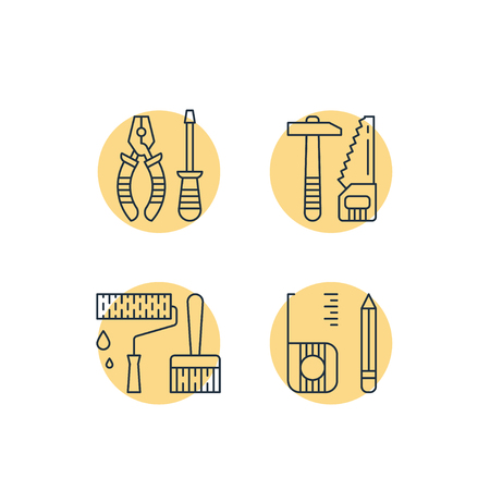 Home improvement project plan, manual work instruments, house repair tool, renovation design, hammer saw symbol, pliers and screwdriver, roller paint and brush, construction equipment vector line icon
