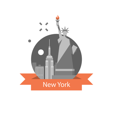 New York symbol, travel destination, famous landmark, statue of liberty, United States of America, English education concept, American language learning, vector icon, flat illustration Stock Vector - 118576623