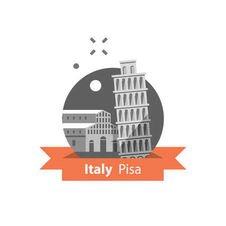 Italy symbol, Pisa tower, travel destination, famous landmark, tourism concept, Italian architecture, vector icon, flat illustration