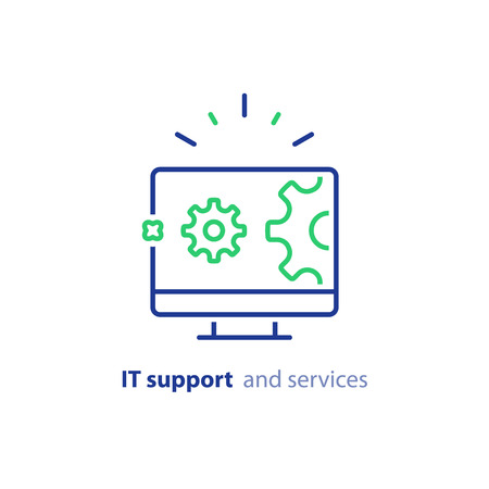 Computer repair services, IT support concept, software development, system administration, desktop upgrade and update, program installation, vector line icon Ilustrace