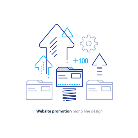 Web site promotion concept, website development, search result optimization, vector line design