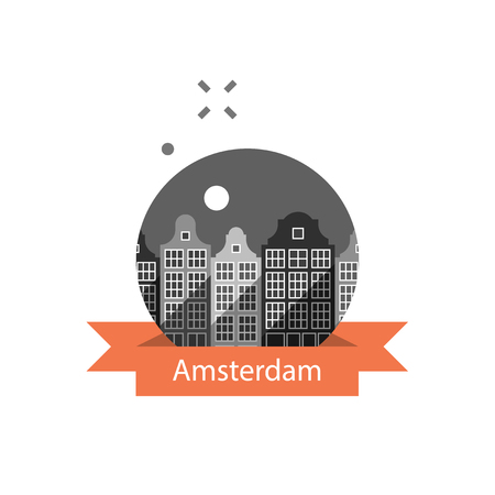 Holland travel destination, Amsterdam row of houses, cityscape, urban architecture, neighborhood skyline, tourism in Europe, vector icon, flat illustration Illustration