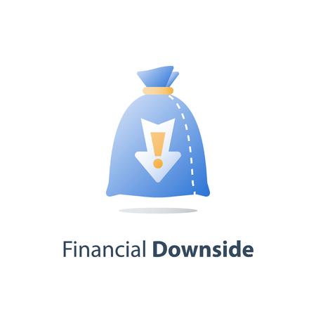 Sunken cost concept, money loss, debt increase, lack of finance, stock market fall, investment hedge fund, wealth devaluation, income decrease, high risk, vector icon Standard-Bild - 122318159