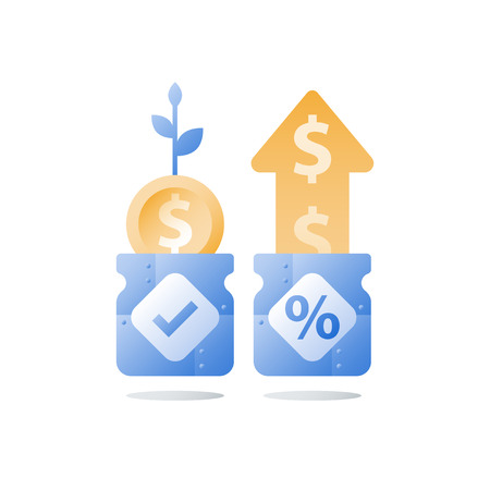 Glass jar and coins, savings account, return on investment, financial fund, long term money deposit, capital growth, income increase, compound interest, vector icon, flat illustration Illustration