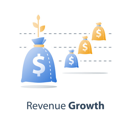 Revenue growth, value increase, financial fund performance report, more money, high interest rate, stock market chart, multiply capital, future income, long term investment, vector icon Vector Illustration