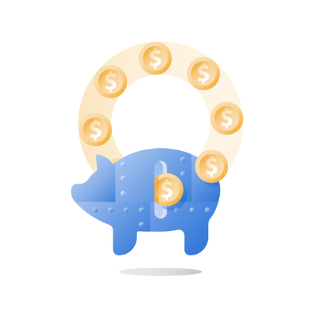 Long term investment strategy, metal piggy bank, arrow of growth, more money, revenue increase, financial performance, ascending chart, high interest rate, vector icon