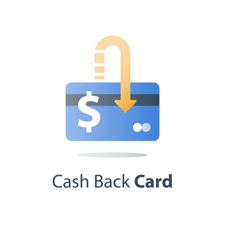Credit card, payment method, bank services, easy loan, cash back program, saving money, financial solution, bank card, dollar currency, deposit and withdraw, transaction security, vector icon Illustration