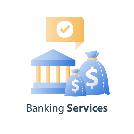 Bank services, savings account, deposit money, pension fund, financial institution, vector icon