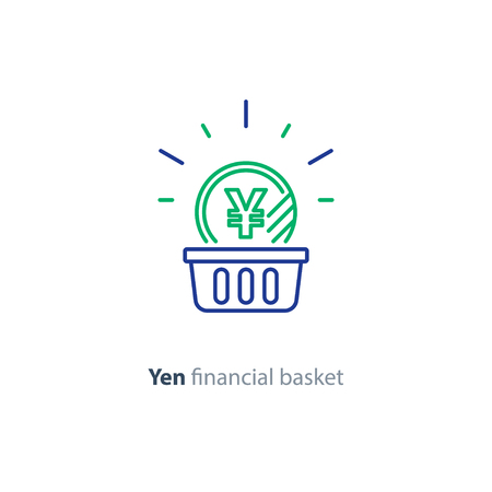 Financial basket, budget planning, fund rising, savings account, yen coin, investment strategy concept, income growth, cash back, vector mono line icon Ilustrace