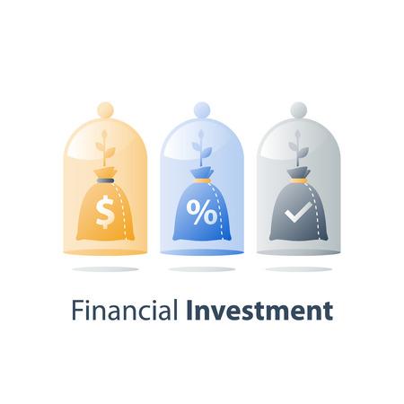 Fonds d'investissement, investissement à long terme, croissance des revenus futurs, allocation de capital, compte d'épargne-pension, concept de pension de retraite, dépôt bancaire, augmentation de la valeur, gestion de patrimoine, icône vectorielle Vecteurs