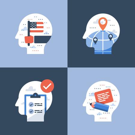 International education, study abroad program, coarse enrollment, university scholarship, student exchange, vector icon, flat illustration Illustration