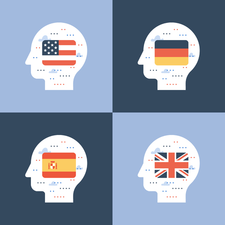Learning foreign language concept, american and British English, Spanish and German linguistics coarse, head and flag, international education, student exchange program, vector icon, flat illustration Vetores