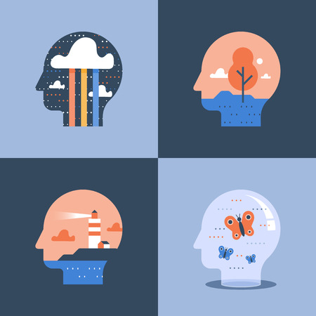 Creative and positive thinking concept, self growth, lighthouse inside head, psychology or psychiatry, vector icon, flat illustration Illustration