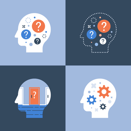 Head and question mark, decision making, critical thinking, brainstorm concept, psychology or psychiatry, take a quiz, vector icon, flat illustration