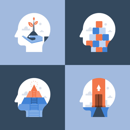 Growth mindset, critical or positive thinking, psychology or psychiatry, self awareness, life long aspiration, happiness pursuit, personal potential development, vector icon, flat illustration Illustration