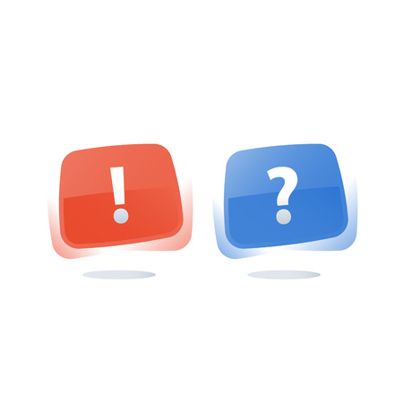 Question and exclamation mark, questionnaire concept, pass survey, vector flat icon