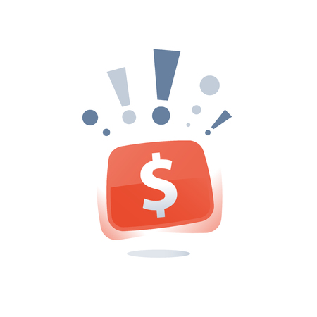 Super prize and dollar sign, winning lottery. Quick loan, easy money, financial concept, vector icon Illustration
