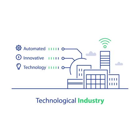 Industrie technologique, production automatisée, solution intelligente, bâtiment d'usine moderne, icône linéaire vectorielle