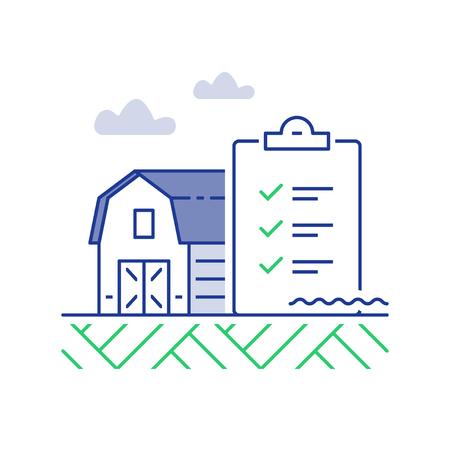 Farm barn and checklist, performance improvement, vector line icon, linear illustration