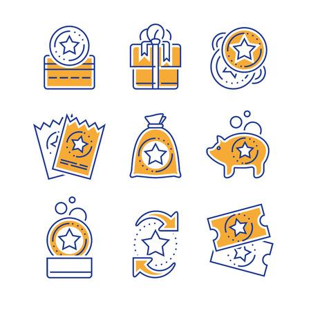 Incitations de fidélité, carte bonus, gagner une récompense, échanger un cadeau, avantages d'achat, coupon de réduction, collecter des pièces, gagner un cadeau, billet de loterie, jeu d'icônes vectorielles mono ligne, illustration linéaire, conception de contour Vecteurs