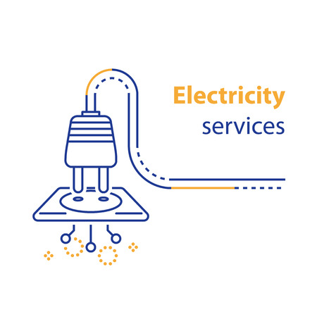 Electricity services concept, socket and plug connecting, electrical outlet, repair and maintenance, vector line icon, linear illustration