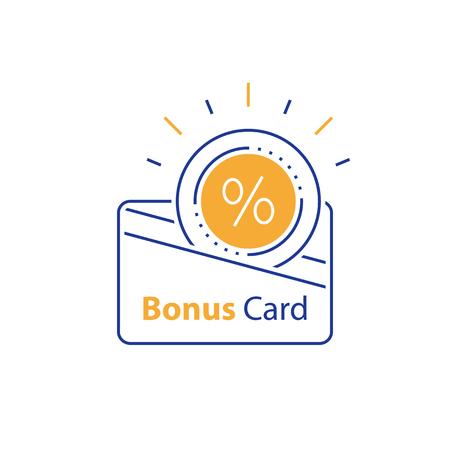 Carte de fidélité, cadeau incitatif, collecte de bonus, récompense, avantages commerciaux, coupon de réduction, icône de ligne mono vectorielle, illustration linéaire, conception de contour
