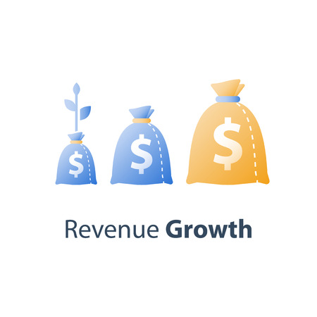 Long term investment strategy, financial value steady growth, asset allocation, stock market future income, revenue increase, mutual fund interest rate, more money saving, plant stem bag, concept icon Standard-Bild - 122318406