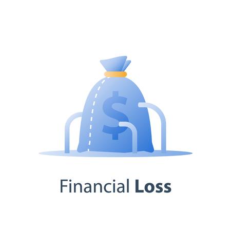 Sunken cost concept, money loss, debt increase, lack of finance, financial waste, investment hedge fund, wealth devaluation, income decrease, high risk, vector icon Ilustración de vector