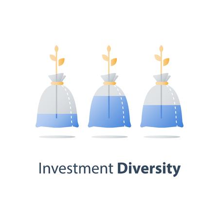 Diversification financière, fractionnement du capital, division de l'actif, tige de la plante, gagner de l'argent, planification budgétaire, compte d'épargne, portefeuille d'investissement à long terme, croissance de la richesse, faible risque, icône vectorielle