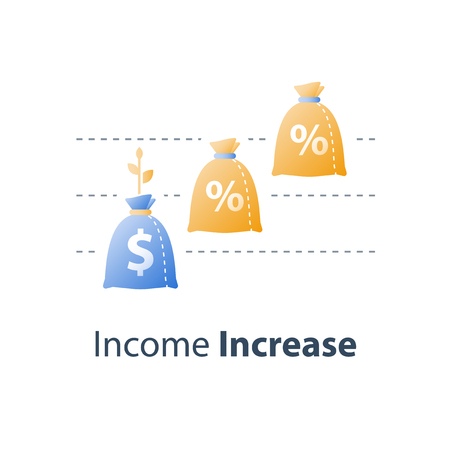 Revenue growth, value increase, financial fund performance report, more money, high interest rate, stock market chart, multiply capital, future income, long term investment, vector icon