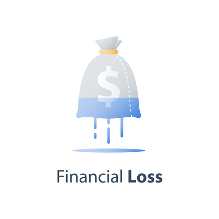 Sunken cost concept, money loss, debt increase, lack of finance, financial waste, investment hedge fund, wealth devaluation, income decrease, high risk, vector icon Ilustração