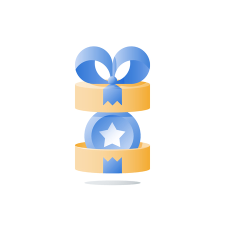 Yellow reward gift, open present box, loyalty program, earn points, collect bonus, redeem special prize, wonder box, vector icon, flat illustration Illustration