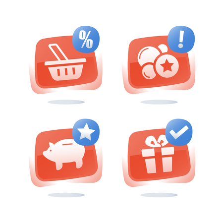Loyalty program, earn points and get reward, shopping basket, discount coupon, piggy bank savings, redeem gift, cash back for purchase, collect points and exchange for present, vector flat icon set Illustration