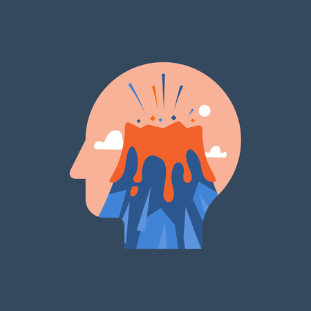 Anger and irritation, easy to explode, feeling mental tension, destructive thoughts, experiencing stress, panic attack, hysteric behavior, volcano eruption in head, vector flat illustration Иллюстрация