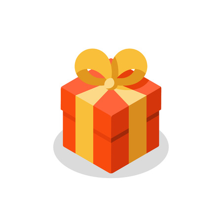 Surprising gift, red box, yellow ribbon, present giveaway, special prize, happy birthday congratulation concept, three gift boxes, small medium and big, vector icon, flat illustration