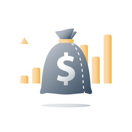 Quick money, fast cash loan, invest fund, budget plan, interest rate, stock market, broker services, revenue increase, capital growth, wealth management, value investment, finance concept, vector icon