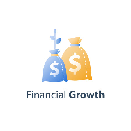 Long term investment strategy, financial value steady growth, asset allocation, stock market future income, revenue increase, mutual fund interest rate, more money saving, plant stem bag, concept icon  イラスト・ベクター素材
