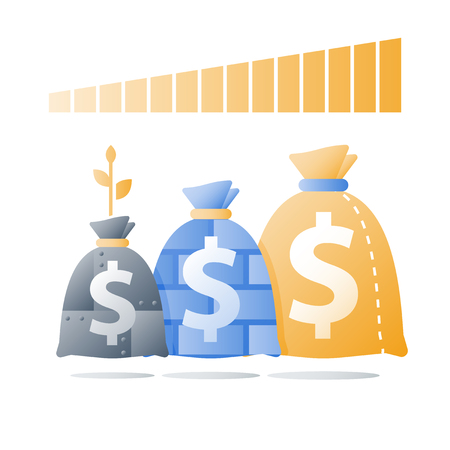 Strong investment portfolio, secure capital allocation, high financial safety, bank savings deposit, mutual fund, wealth management, invest strategy, metal bag, vector icon Illustration