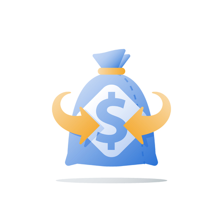 Super fast cash loan, provide more money, quick finance help, large sum of money, thick sack, financial benefit, fund raise, high interest, investment return, pay back, vector icon