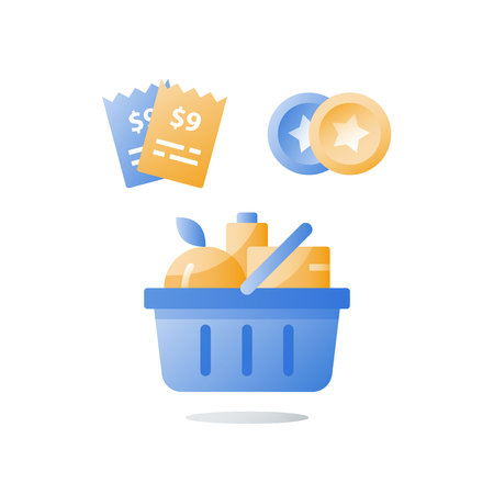 Till slip and full grocery basket, loyalty program, earn bonus points, collect tokens, supermarket special offer, consumption incentive concept, vector icon, flat illustration Illustration
