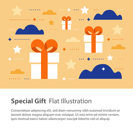 Special gift, creative unusual present, surprising box concept, birthday card, vector flat illustration Vectores