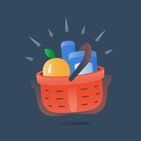 Full red basket of goods, grocery store fast delivery service, special offer, supermarket fresh food supply, best deal purchase, essential selection of items, vector icon, flat illustration Illustration