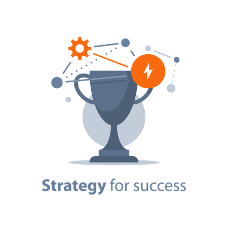 Strategy for success, win prize, reward program, golden cup, game trophy, award ceremony, big accomplishment, first place bowl, vector icon, flat illustration Çizim