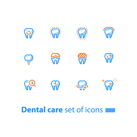 Dental care, prevention check up, stomatology services, smiling tooth, implant and crown, vector line icon set, linear design